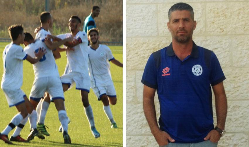 חנן דוד, מאמן קבוצת הנוער של עירוני מודיעין, שחקני נוער עירוני מודיעין (צילומים: פרטי)