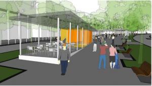 הדמיה של בתי הקפה והמסעדות במרכז העסקים החדש