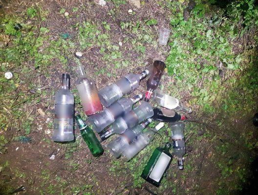 בקבוקי האלכוהול שנמצאו במסיבת יער בהשתתפות עשרות בני נוער ממודיעין והסביבה (צילום: דוברות המשטרה)