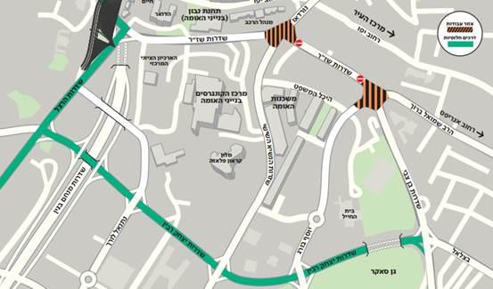 מפת חסימות הכבישים בירושלים