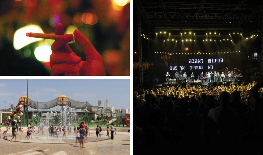 הופעה של שלמה ארצי בפארק ענבה, המזרקות בפארק, סיגריה (צילומים: חורחה נובומינסקי, עיריית מודיעין מכבים רעות, דן קינן)