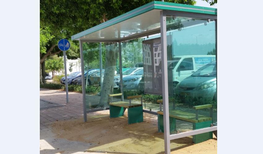 תחנת האוטובוס החדשה בשדרה המרכזית בפארק הטכנולוגי (צילום: דוברות עיריית מודיעין מכבים רעות)