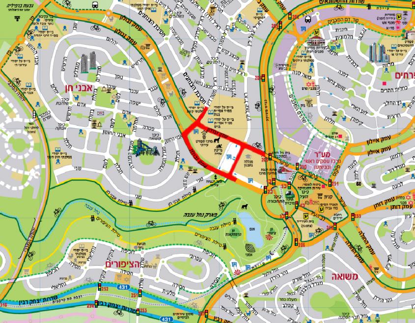 מפת החסימות ביום הטריאלתון (צילום: דוברות עיריית מודיעין מכבים רעות)