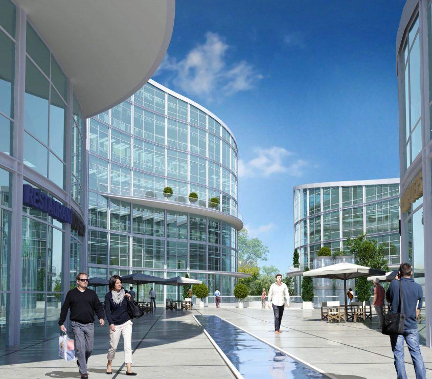 מרכז העסקים החדש שיוקם במודיעין (הדמיה: איי איי הדמיות)