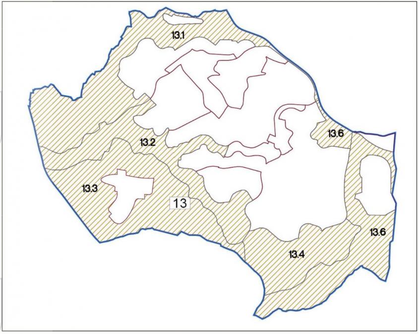 מפה של מודיעין - חלוקה לשטחי מסחר ושטחים פתוחים