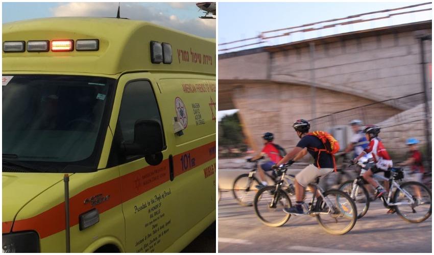רוכבי אופניים במודיעין, אמבולנס (צילומים: דוברות עיריית מודיעין מכבים רעות, עודאי בסול)