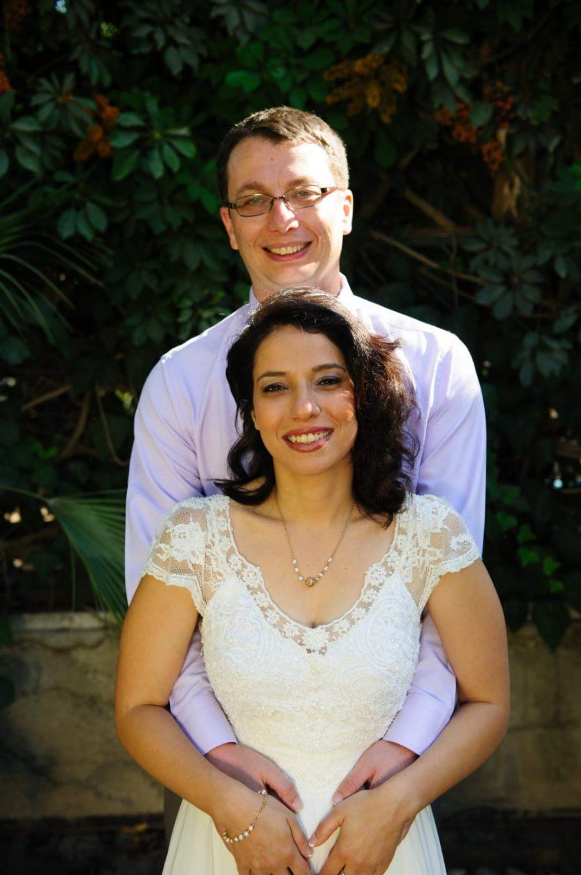 """יעל דורון שור ז""""ל ויואב שור ביום חתונתם (צילום: יאיר צריקר)"""