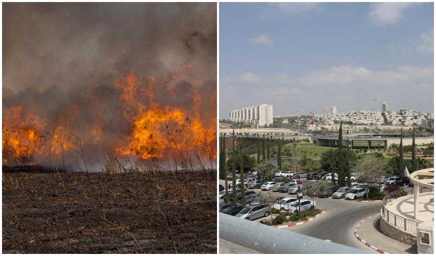 מודיעין, אילוסטרציה שריפה (צילומים: פרטי, אליהו הרשקוביץ)