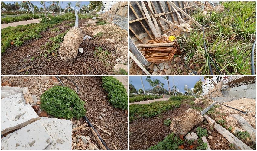 מפגעים בטיילת שדרות השחמונאים - פסולת בנייה (צילומים: פרטי)