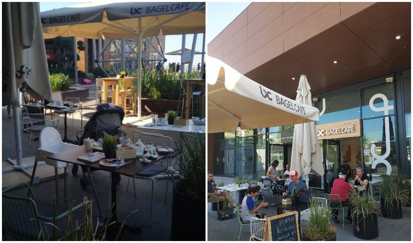 בית הקפה מלא לפני שהופעלה האזעקה, בית הקפה לאחר מכן (צילומים: אלירן אביטבול)