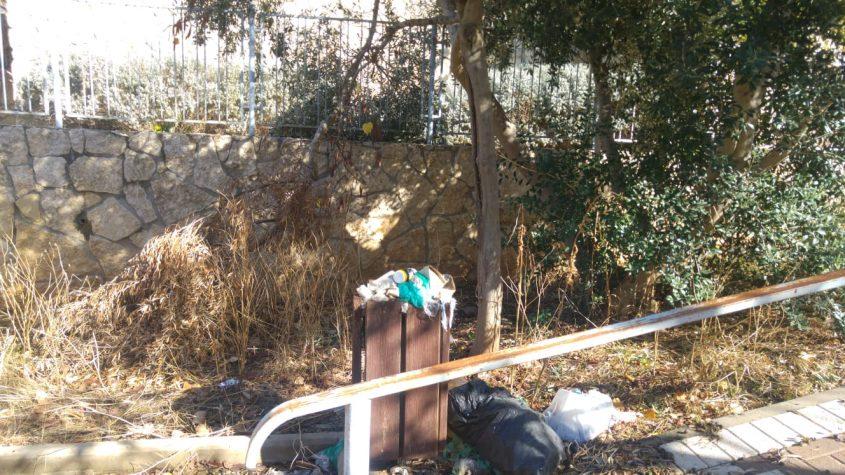 אשפה זרוקה בגינה (צילום: פרטי)