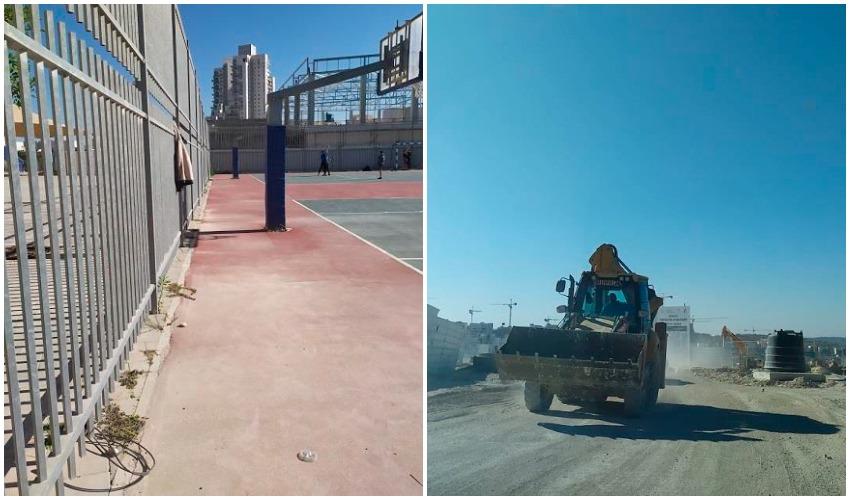 אבק באתר הבנייה, אבק בחצר בית הספר (צילום: מתוך דוח המשרד להגנת הסביבה מרים אייל מונדרי)