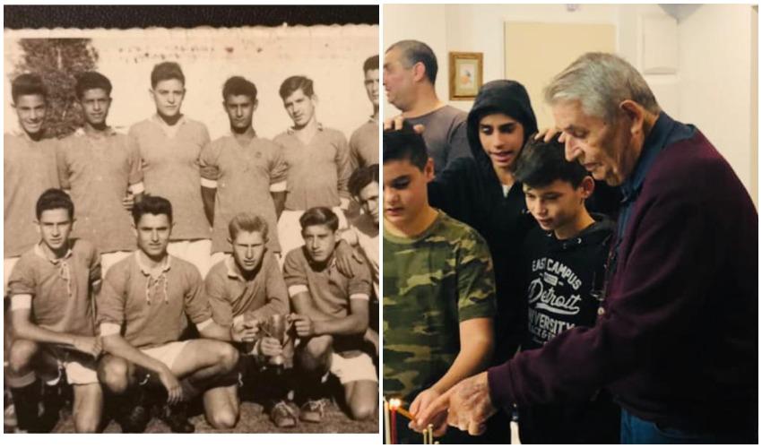ליבה עם נכדיו, קבוצת הנוער מכבי פתח תקווה בשנות ה50, מרדכי לבה כורע שני משמאל (צילום: אודי ליבה)