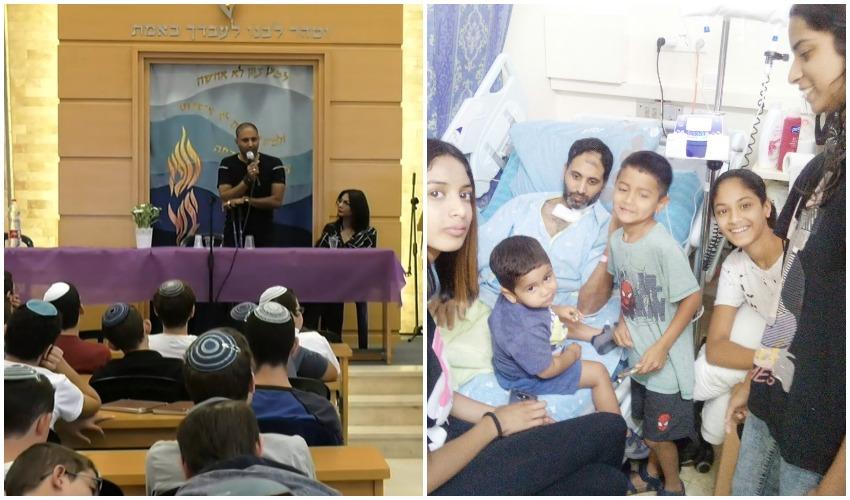 ניב נחמיה ומשפחתו בבית החולים, ההרצאה של נחמיה בבית המדרש (צילומים: משפחת נחמיה, ישיבת בני עקיבא לפיד)