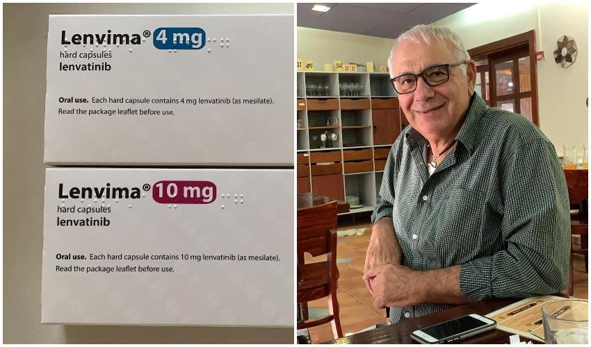 אורי דנון והתרופה מצילת החיים (צילום: פרטי)