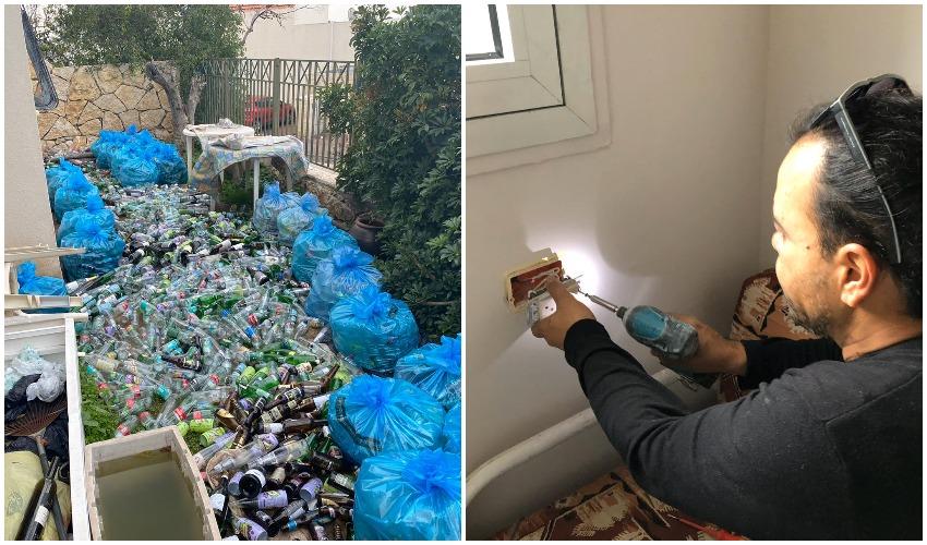 שיפוץ בבית האישה, הבקבוקים שנתרמו (צילום: טל דיל)