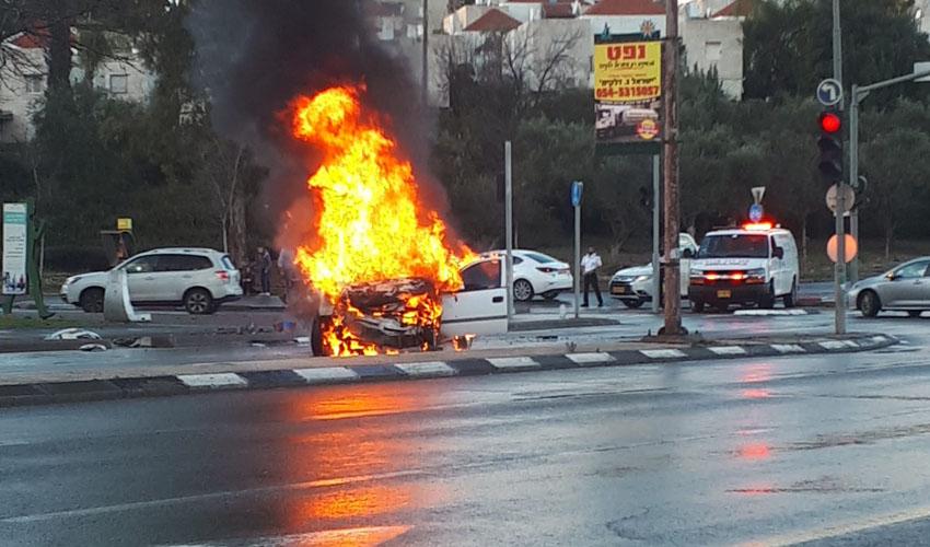 זירת התאונה הקשה בדרך יאיר פרג (צילום: איחוד הצלה)