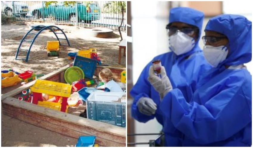 סכנת הקורונה, גן ילדים (צילום: רויטרס P. RAVIKUMAR, אילוסטרציה: תמר הירדני)
