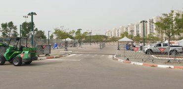 מתחם לבדיקות קורונה במודיעין (צילום: דוברות עיריית מודיעין)