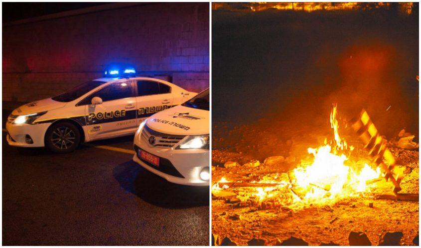 """מדורת ל""""ג בעומר, ניידות משטרה (צילומים: אמיל סלמן, דוברות המשטרה)"""