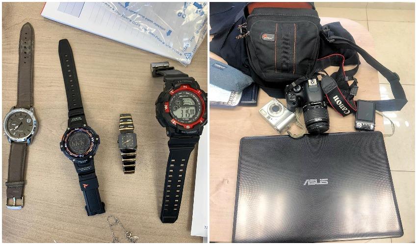 הציוד שנתפס עם החשודים (צילומים: דוברות המשטרה)