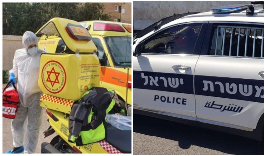 """ניידת משטרה, בדיקות קורונה (צילומים: דוברות המשטרה, תיעוד מבצעי מד""""א)"""